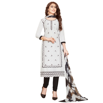 White hand embroidery cotton salwar