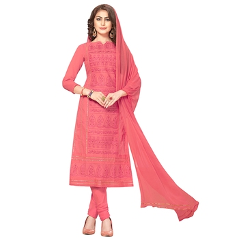 Peach hand embroidery cotton salwar
