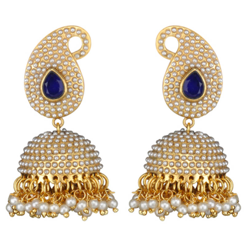 6322110dfbb59 Traditional indian bollywood necklace set golden pearl polki jhumka  earrings set