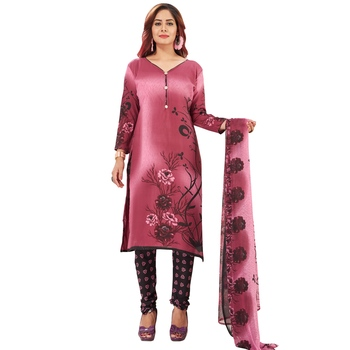 Pink printed synthetic salwar