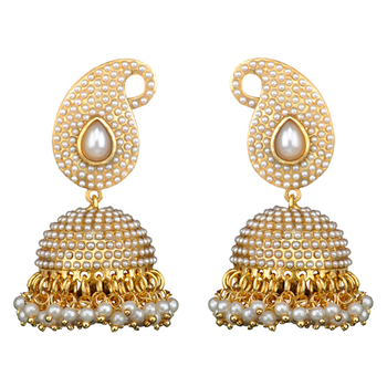 Traditional Indian Bollywood Necklace Set Golden Pearl Polki Jhumka Earrings Set