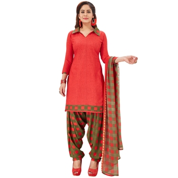 Red printed synthetic salwar