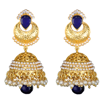 Ethnic Indian Bollywood Jewelry Set Golden Pearl Polki Jhumka Earrings Set