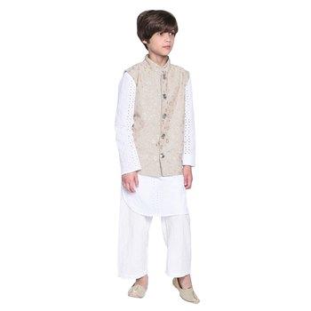 White printed cotton boys kurta pyjama