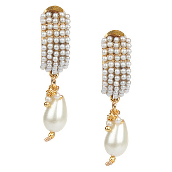 Traditional Indian Bollywood Jewelry Set Gold Finish Chandni Pearl Polki Earrings Set