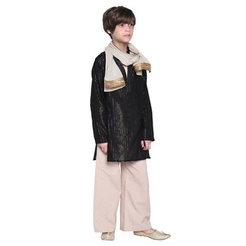 Black printed cotton boys kurta pyjama