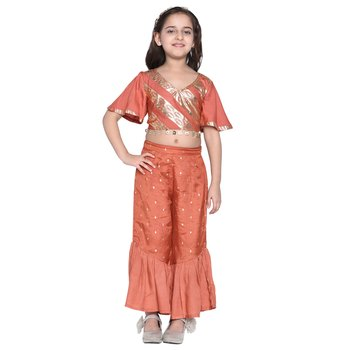 Brown printed cotton kids top with palazzo