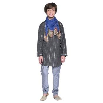 Black Printed Cotton Boys Kurta Pyjama