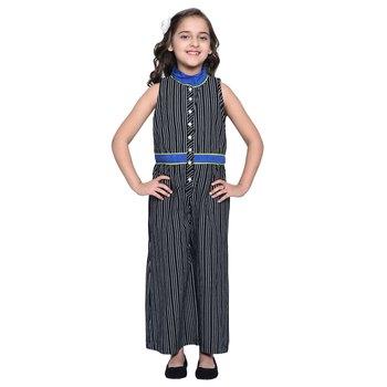 Black Printed Cotton  Kids Jumpsuit
