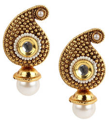 Traditional Indian Bollywood Jewelry Set, Golden Kundan stud Earring Set