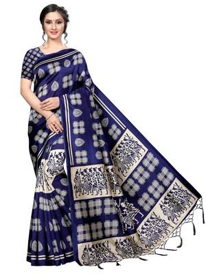 Navy Printed Art Silk Saree With Blouse