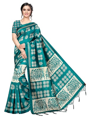 Rama Printed Art Silk Saree With Blouse