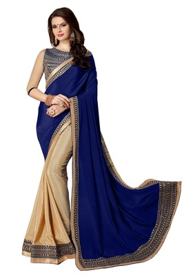 Navy blue embroidered fancy fabric saree with blouse
