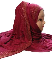 Justkartit Maroon Color Casual Wear Hosiery Soft Cotton Stone Work Stole Scarf Hijab For Women