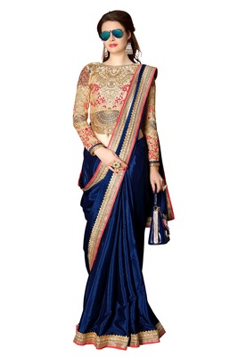 Dark blue embroidered fancy fabric saree with blouse
