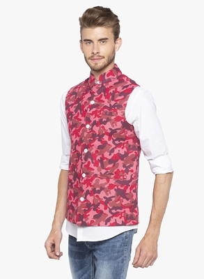 Mens Pink Printed Cotton Nehru Jacket