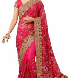 Vardan Ethnic Pink Net Embroidered Bridal Wear Saree