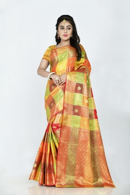 Orange hand woven banarasi silk saree with blouse