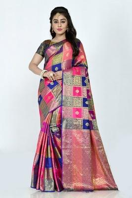 Blue hand woven banarasi silk saree with blouse