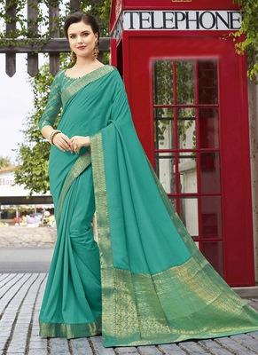 aqua blue woven silk blend saree with blouse
