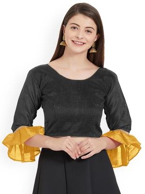 Designer Black Plain Banglori Silk With Latest Style Ruffle Sleeve Blouse