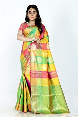 Dark yellow hand woven banarasi silk saree with blouse