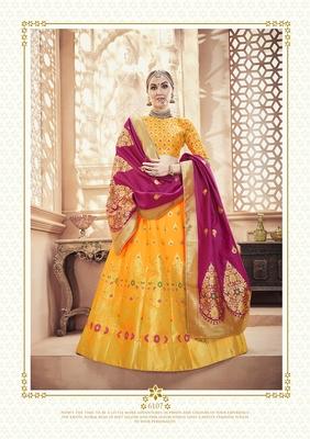 Yellow jacquard jacquard stitched lehenga