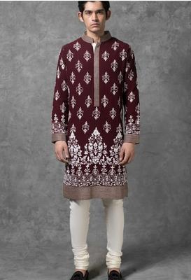Maroon embroidered cotton kurta-pajama