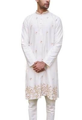 White embroidered cotton kurta-pajama