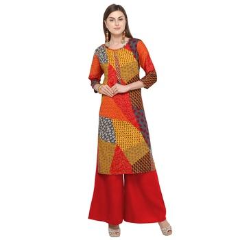 Multicolor printed rayon party wear kurtis