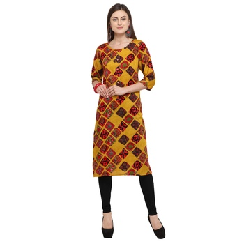 Multicolor printed rayon party wear kurtis
