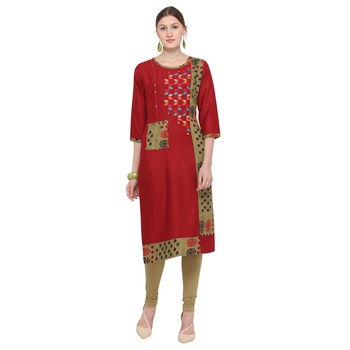 Maroon embroidered rayon party wear kurtis