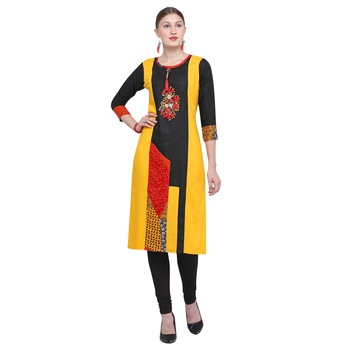 Multicolor embroidered rayon party wear kurtis