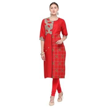 Red embroidered rayon party wear kurtis
