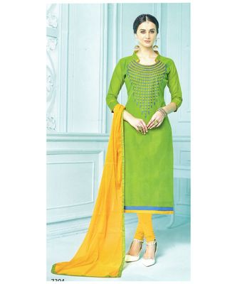 green embroidered chanderi unstitched salwar with dupatta