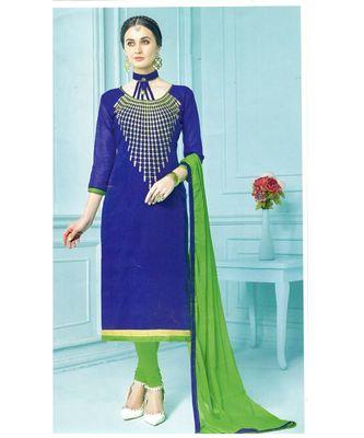 blue embroidered chanderi unstitched salwar with dupatta