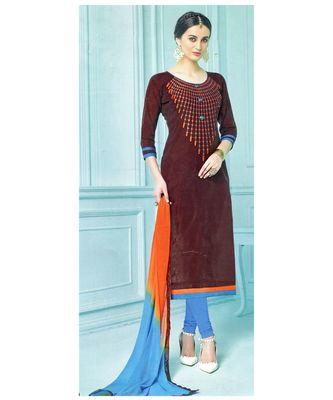 brown embroidered chanderi unstitched salwar with dupatta