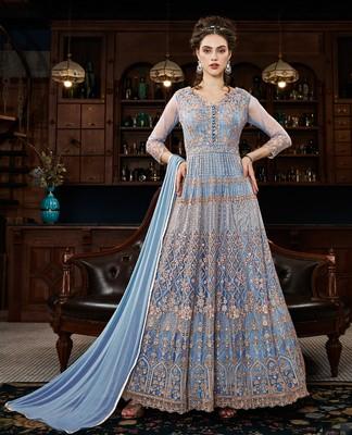 Light-blue resham embroidery net salwar