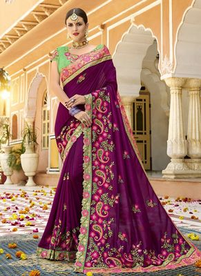 Dark purple embroidered silk saree with blouse