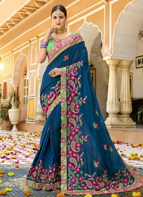 Cobalt blue embroidered silk saree with blouse
