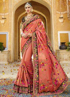 Dark peach embroidered silk saree with blouse