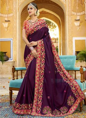 Dark violet embroidered silk saree with blouse
