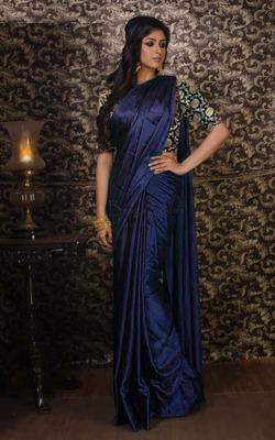 Brown plain silk saree with blouse