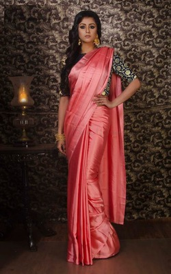 Peach plain silk saree with blouse