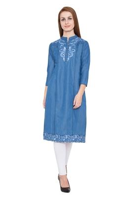 Blue embroidered cotton kurtas and kurtis
