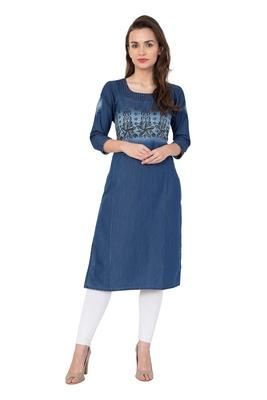Blue printed cotton kurtas and kurtis