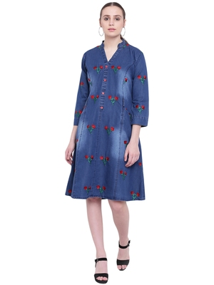 Blue embroidered cotton kurtas and kurtis