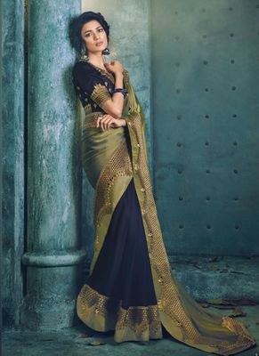 Olive embroidered silk saree with blouse