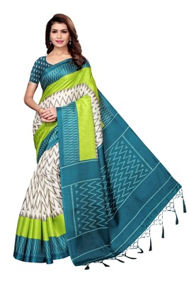 Dark aqua blue printed art silk saree with blouse