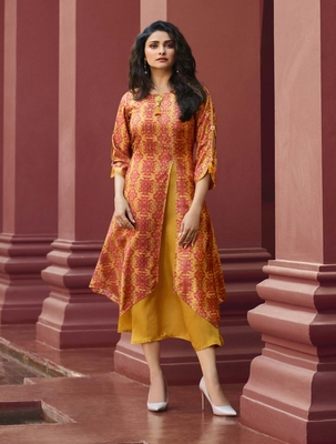 Yellow Printed Silk Kurtis